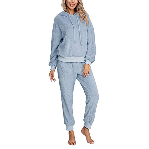 Pijama Mujer Invierno Ropa para Casa Forro Polar Conjunto de Pijama 2 Piezas para Mujer Sudadera de Felpa + Pantalones Largos Color Sólido (Azul, S)
