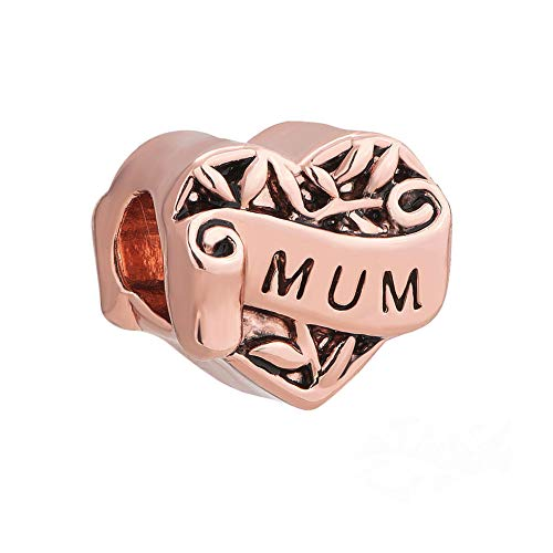 Lifequeen Jewellery I Love You Mum Daughter Sister Grandma Wife Girl Charms Beads For European Bracelets (Rose Gold Plated Mum)