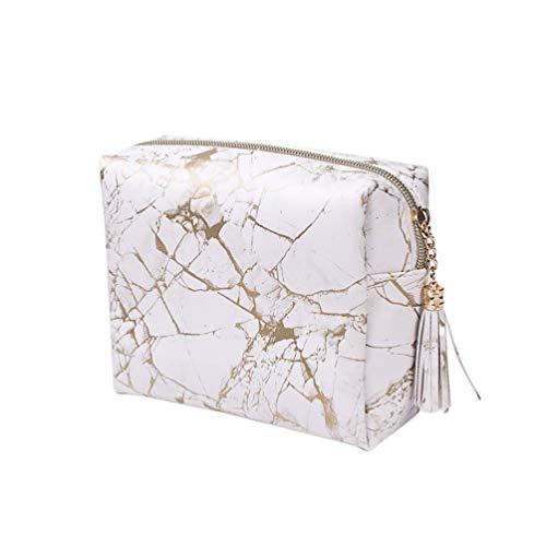 Lurrose sacs de maquillage en marbre pu pochette cosmétique organisateur de stockage de crayon pour les femmes