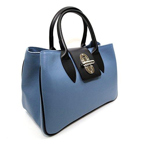 Borsa da donna Arno in vera pelle , Made in Italy , CREEO Blu Marino