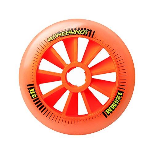 TGHY 6 Piezas Rueda de Patinaje en Línea de 125mm 85A de Alto Rebote Rueda de Patinaje de Velocidad Cuesta Abajo Rueda de Repuesto para Scooter,Naranja
