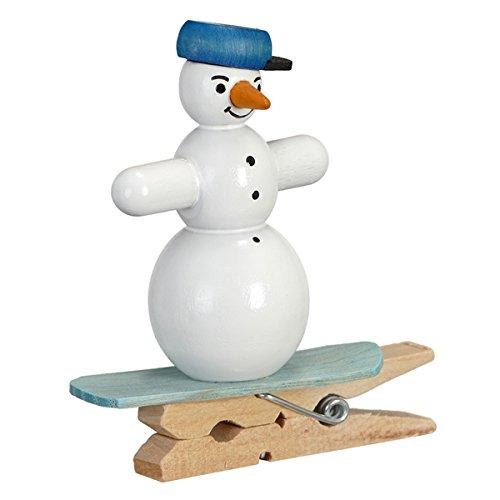 Boomversiering sneeuwpoppen snowboard met klem hoogte ca. 5 cm NIEUW boomversiering kerstboomversiering struikbehang Kerstmis sneeuwbal figuur zeep Ertsgebergte hout winterdecoratie decoratie