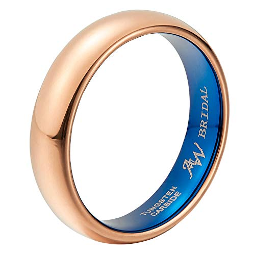 AW BRIDAL Comfort Fit Domed Tungsten Carbide Ring Classic Wedding Band Engagement Ring, Rose Gold Ring, 5mm Size 10.5