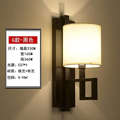 CHOUCHOU Apliques Pared Lámpara de Pared Lámpara de Pared de cabecera del Dormitorio de la lámpara de Pared del Pasillo del Hotel de la lámpara de la Sala de la lámpara de Pared, G-Negro