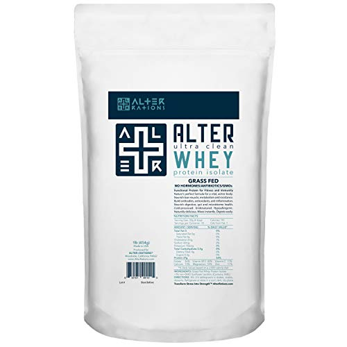 Alter + WHEY   Premium Ultra Clean Grass Fed Whey Protein Isolate   for Strength & Resistance   Ultra Pure & Potent. Hypallergenic. Professional Grade. (1 Lb)