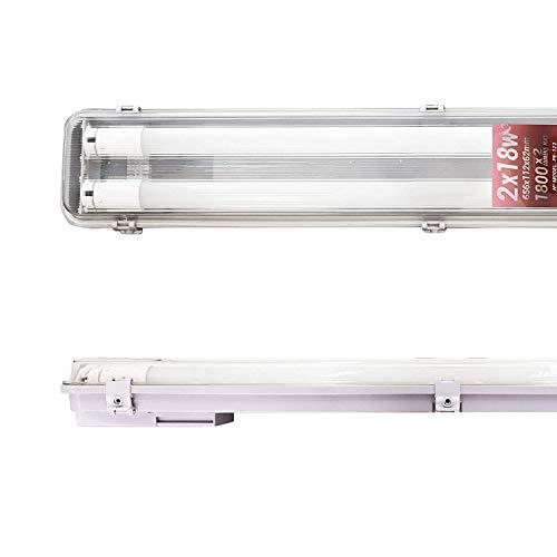 POPP® Pantalla Estanca con 2 Tubos de LED de 1500MM, 44W IP65 Impermeable,Prueba de polvo,PC/PC para Parking Interior y Exterior. (44 Watios)