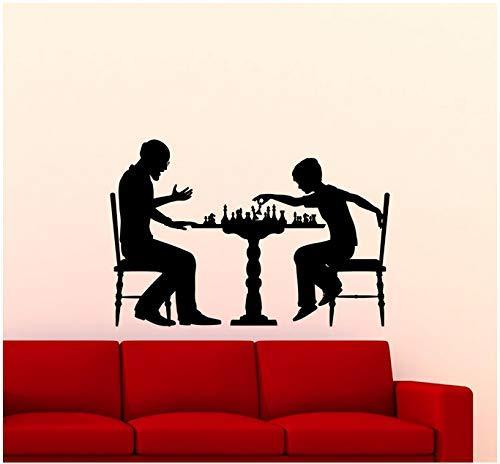 Juego de ajedrez Vinilo Adhesivos de pared Interior del hogar Ajedrez y niños Adhesivos de pared Ajedrez móvil 57x38cm