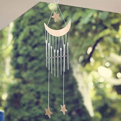 Windspiele im Freien, Elegantes Metall und Holz Design beruhigende Töne Musik Windspiel Fenster hängen Dekor Wind Bell für Innen und Außen(Natürlicher Farbton)