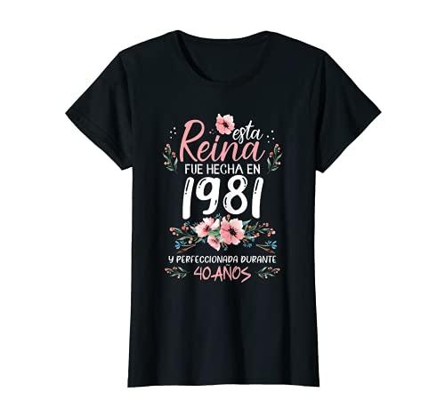 Mujer 40 Años Regalo de Cumpleaños Mujer Hecha En 1981 40 Años Camiseta
