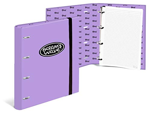 Ocean´s Wave OCW50056 - Carpeta con 4 anillas, color lila pastel