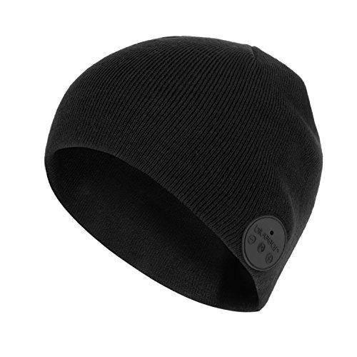 Bluetooth Beanie Mütze BLUEEAR Waschbare Freizeit Bluetooth Baggy Hats Kopfhörer mit akustischem Stereolautsprecher und Freisprecher-Telefonbeantwortung und bis zu 8 Stunden Wiedergabezeit (H1N BLACK)