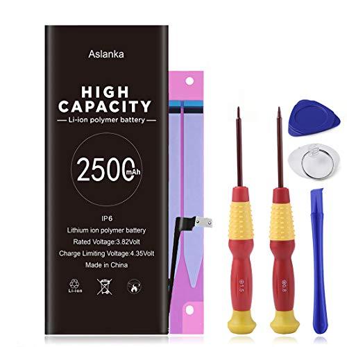 Aslanka Batteria per iPhone 6 2500mAh, Sostituzione ad alta capacità, 38% in più rispetto ad altre Batterie, strumenti di riparazione professionali completi, istruzioni per l uso