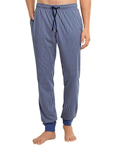 Schiesser Herren Mix & Relax Hose Lang Bündchen Schlafanzughose Pyjamaunterteil, Jeansblau, 102