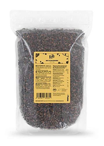 KoRo - Pépites de fèves de cacao bio 1 kg - Organic raw cacao nibs, cru, naturel, non torréfié, sans additifs, au goût intense de cacao