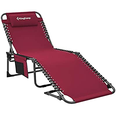 KingCamp Camping Cot Portable 4 Adjustable Folding Reclining Lounger Chair w/Pillow for Travel Camp, Wine, One Size (KC2019_Wine-USVC)