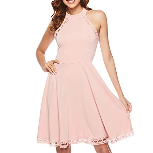 Muyise Damen Freizeitkleid Minikleid Sommer elegant Rundhals ärmellos einfarbig Dress lässig locker cocktailkleider Abendkleid Partykleid(Rosa,S)