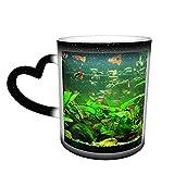 Oaieltj Divertido calor cambiante tazas, acuario Goldfish personalizado calor sensible color cambiante taza taza de té de leche tazas de café mágicas