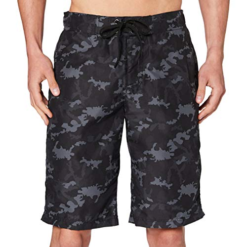 Urban Classics Herren Board Bermuda Shorts Badehose, Black camo, XL