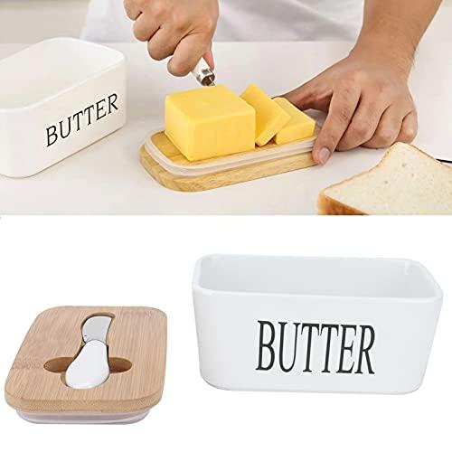 OKAT Recipiente de Alimentos, Sellado de Silicona Bandeja de Almacenamiento de Platos de cerámica multifunción Recipiente de Mantequilla Cocina para Platos