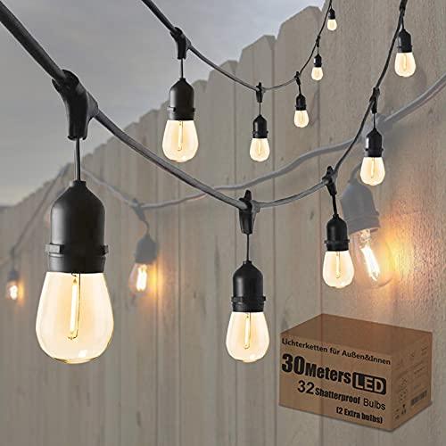 Lichterkette Außen 30M ST45 LED Lichterkette Glühbirnen außen Warmweiß 2700K Lichterkette Glühbirnen IP65 Wasserdicht 30X1W E27 Glas Birnen für Garten, Outdoor küche, Bäume, Hochzeiten Partys