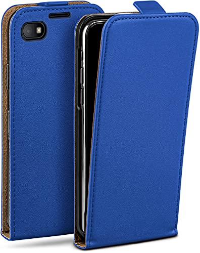 moex Flip Hülle für BlackBerry Z30 Hülle klappbar, 360 Grad R&um Komplett-Schutz, Klapphülle aus Vegan Leder, Handytasche mit vertikaler Klappe, magnetisch - Dunkelblau