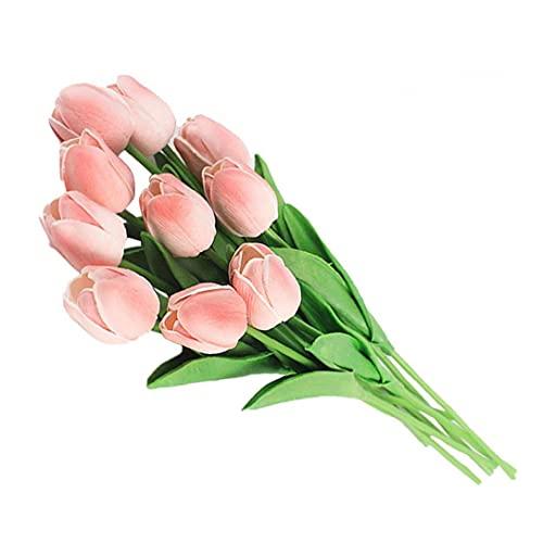 WFIT Kunstbloemen, nepplanten boeketten Decor Plastic Realistische Bloem voor Bruiloft Party Home Tafel Decoratie Roze Tulpen