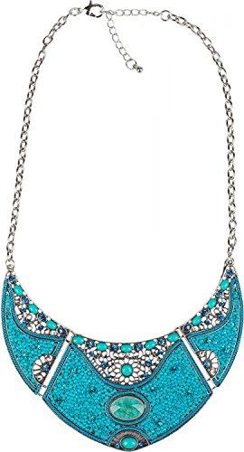 styleBREAKER Halskette Statement Kette, Perlen und Strass besetzt, Ornamente, 3 teilig, Damen 05030015, Farbe:Türkis