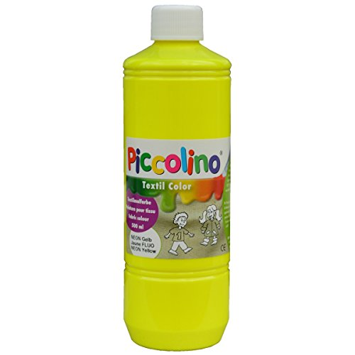Encre, Peinture textile fluo, Jaune 500 ml - Piccolino Peinture fluorescente pour tissus ou soie visible dans le noir