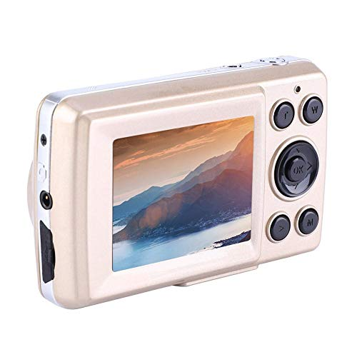 Mini cámaras digitales HD, cámaras digitales de apuntar y disparar Videocámara de video de 2.4 pulgadas, 16MP, 720P, 30FPS, zoom 4X para niños, adolescentes, campamentos, exteriores, escuelas(oro)