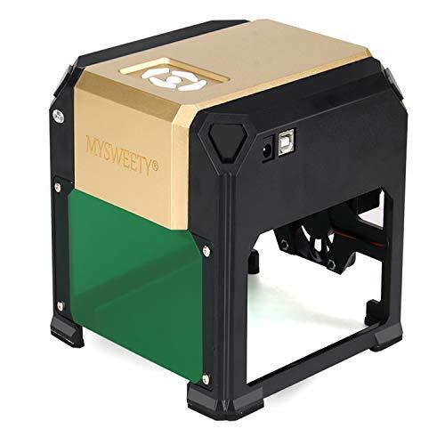 MYSWEETY Machine de Gravure 3000mw, Mini DIY CNC Graveure Zone de Travail 80X80mm pour Logo DIY, Plastique, Papier