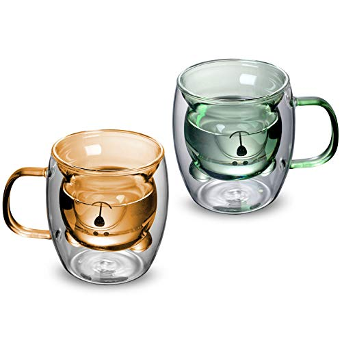 Double Wall Glass Coffee Mugs Bear-shaped 12 oz Set of 2 Insulated Cappuccino Cups with Handles for Americano, Espresso, Ice Tea and Latte