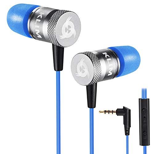 KLIM Fusion Kopfhörer in Ears mit Kabel - Langlebig - Innovativ: In-Ear Kopfhörer mit Memory Foam - Neue 2021 Version - 3.5 mm Jack - Sport Gaming In Ear Kopfhörer - Blau