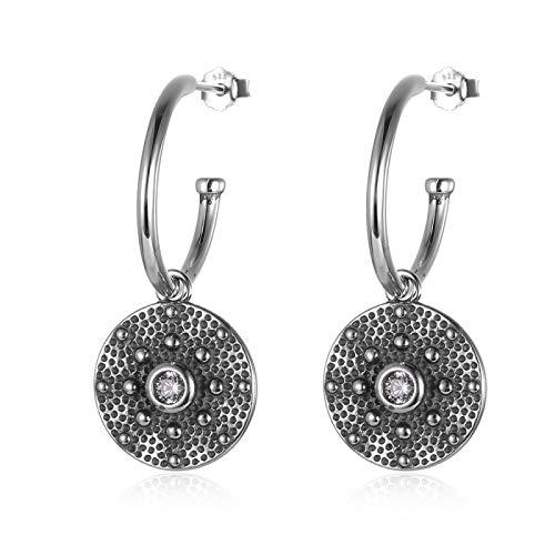 Pendientes de plata de ley 925 oxidados, pendientes de aro de circonita con cuentas redondas, joyería de oreja con personalidad elegante para mujer