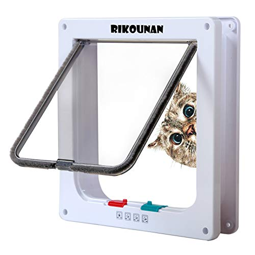 Rikounan Cat Door with 4 Way Locking, Quiet Pet Doors for Cats, Large Cat Doors for Interior Exterior Doors, Easy Installation Premium Cat Flap Door...