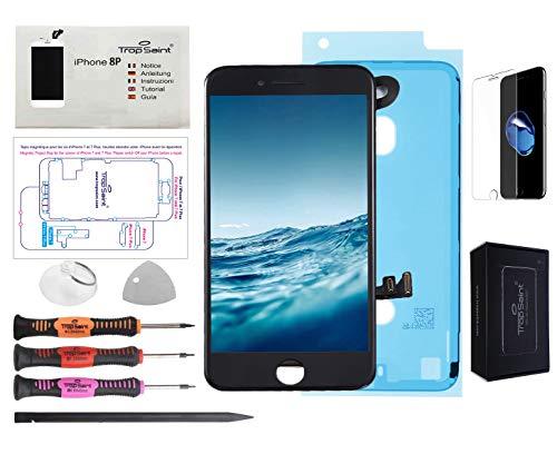 Trop Saint Pantalla Negro para iPhone 8 Plus Completa Premium Kit de reparación LCD con Guía, Herramientas, Film Protector Pantalla y Pegatina Adhesiva Impermeable