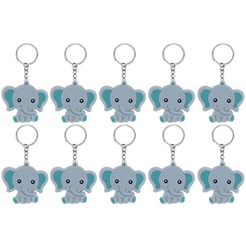 Finduat 20 Pcs Blue Baby Elephant Keychains for Elephant Theme Party Favors Pendant, Boys Birthday Party Supplies, Baby Shower Boy Party Favors for Kid Toy Ornament Souvenirs