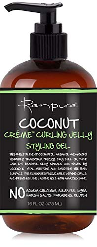 RENPURE Creme Curling Jelly Styling Hair Gel, Coconut 16 Fl Oz