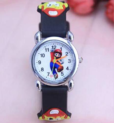 FENGHU Reloj para niños Dibujos Animados 3D Lovely Super Mario Niños Niños Niños Estudiantes Cuarzo Reloj Relojes Muy Populares