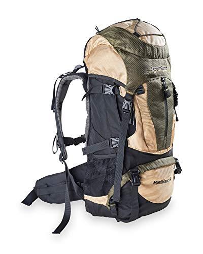 AspenSport Unisex-Erwachsene Rucksack Mount Blanc, Schwarz/Creme/Grün, 70 x 37 x 23 cm, 60 Liter