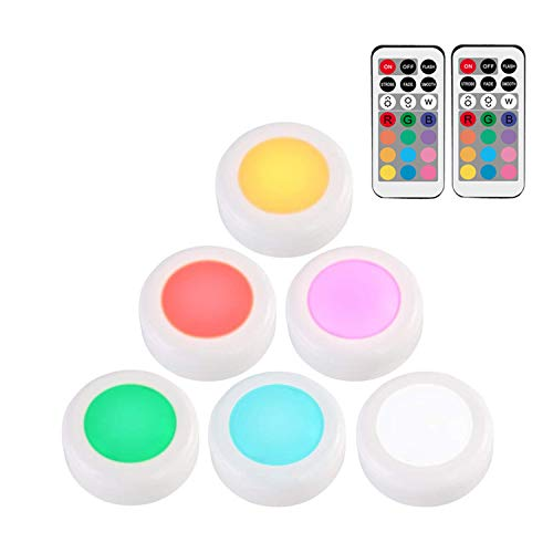 N \ A 6PCS Closet Lights with 13 Colors & 4 Modes, Dimmable Multicolor LED Under Cabinet Lighting with Remote Control, Battery Powered for Kitchen, Shelf, Wardrobe