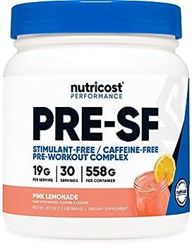 Nutricost Stim-Free Pre-Workout 30 Servings  Pink Lemonade  - Non-GMO Gluten Free