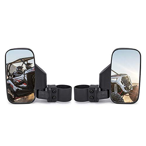 "UTV Rear View mirror Side Mirror mirror with 1.75"" and 2"" Roll Bar Cage,Easily Adjustable Compatible with Polaris Ranger RZR Can-Am Maverick (Pair of Side View Mirror)"