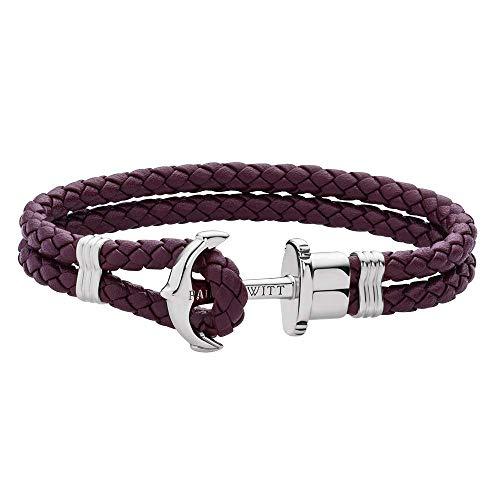 PAUL HEWITT Anker Armband Damen PHREP - Segeltau Armband Frauen, Leder Armband Damen (Dark Mauve) mit Anker Schmuck aus IP-Edelstahl (Silber)