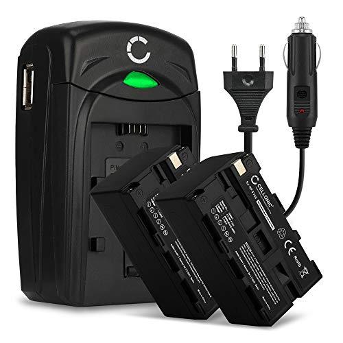 2x Akku kompatibel mit Sony HXR-MC2500 HXR-NX100 -NX5 HDR-FX1 -FX7 -FX1000 NEX-FS700 DSR-PD150 DSR-250 HVR-Z1 Ersatzakku NP-F970 -F550 -F570 -F330 -F750 Ladegerät BC-VM50 KFZ Ladekabel Auto Batterie