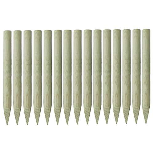 Festnight Holzpfosten | Angespitzte Zaunpfähle | Zaunpfosten | Spitz Holz Pfosten | 15 Stück Kiefer Imprägniert 4 x 100 cm