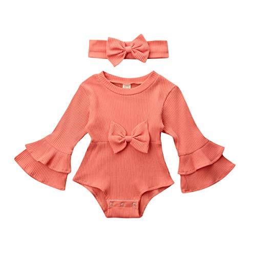 CIPOGL Baby Mädchen Kleidung Babystrampler Gestrickte Flare-Ärmel Strampler Overalls Babykleidung Outfits (Orange, 0-3 Months)