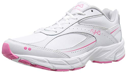 RYKA Women's Comfort Leather Walking Shoe, White/Chrome Silver/Hot Pink, 7.5 M US