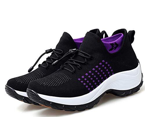 ZYLL Femmes Confortables Chaussures de randonnée antidérapantes Womens Chaussures de Marche Haute élastique Chaussettes Designslip-on Lightweight Mesh Sneakers,Noir,40
