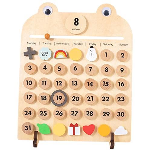 Hellery Calendario de Pared de Escritorio de Madera Maciza, Días de Fecha Tiempo Montessori, Aprendizaje Calendario Family Time Kid's Preeschool Educación Jue