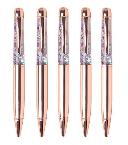 KayMayn 5 Stücke Rose Gold Stift Kristall Bling Kugelschreiber Strass Kristall Stift mit Druckkugelschreiber Kreatives Briefpapier Büro Schule Schreibwaren werbegeschenk
